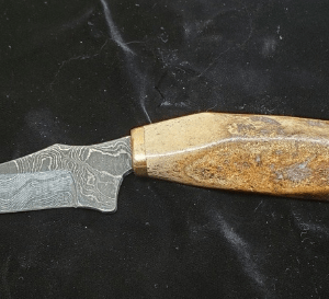 4 inch Damascus Blade made with 2000yr. old Kayak crosstie artifact