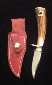 Buried tang knife with 3.5 blade comes with handmade leather sheath Moose