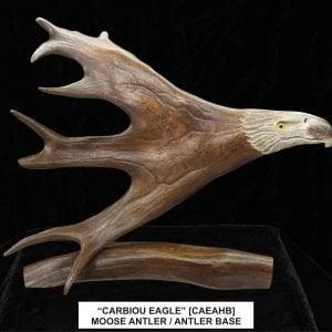 CARIBOU ANTLER EAGLE HEAD ON A CARIBOU ANTLER BASE