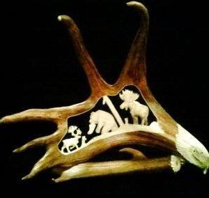 Caribou Antler Relief Carving Alaskan Big 3 Full body