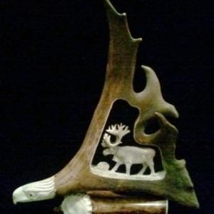 Caribou Antler Relief Carving Walking Caribou