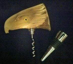 Caribou Antler Eagle Head Bottle Stopper Cork Screw All in one