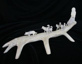 Caribou Antler Dogsled Team Carving
