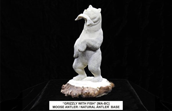 Grizzly Bear With Fish Carving Moose Antler and Base