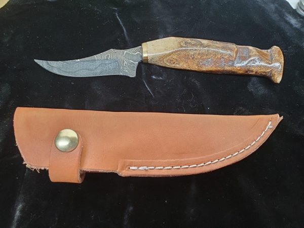 4 inch Damascus Knife made with 2000 yr. old Kayak crosstie Artifact