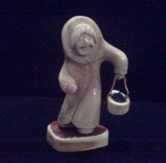 Moose Antler Eskimo Figurine Doll Berry Picker
