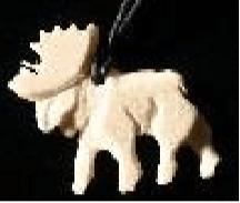 Moose Antler Walking Moose Pendant with string