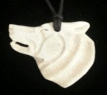 Moose Antler Wolf Head Pendant with string