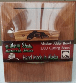 ULU CHOPPING BOARD SET WITH ALDER ORCA NATIVE ART