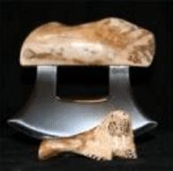 Ulu Walrus Jaw Bone with carved Base
